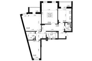 ЖК Вернисаж: планировка 3-комнатной квартиры 112.67 м²