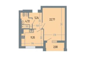 ЖК Версаль: планування 1-кімнатної квартири 51.2 м²