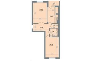 ЖК Версаль: планування 2-кімнатної квартири 74.9 м²