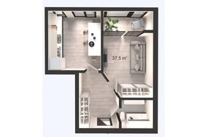 ЖК Вертикаль: планування 1-кімнатної квартири 37.5 м²