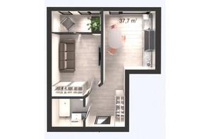 ЖК Вертикаль: планування 1-кімнатної квартири 37.7 м²