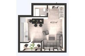 ЖК Вертикаль: планування 1-кімнатної квартири 40.8 м²
