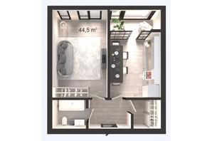 ЖК Вертикаль: планування 1-кімнатної квартири 44.5 м²