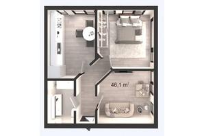 ЖК Вертикаль: планування 2-кімнатної квартири 46.1 м²