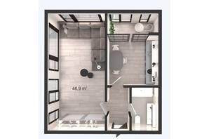 ЖК Вертикаль: планування 1-кімнатної квартири 46.9 м²