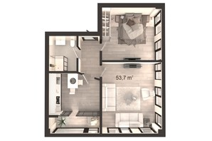 ЖК Вертикаль: планування 2-кімнатної квартири 53.7 м²