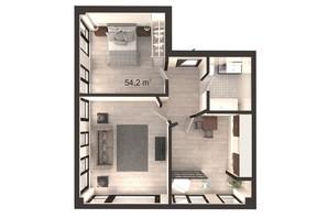 ЖК Вертикаль: планування 2-кімнатної квартири 54.2 м²