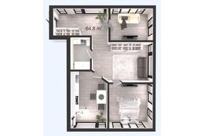 ЖК Вертикаль: планування 2-кімнатної квартири 64.8 м²