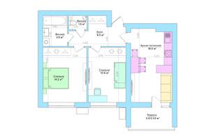 ЖК Vesna: планування 2-кімнатної квартири 59.3 м²