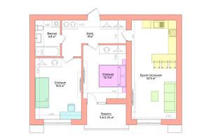 ЖК Vesna: планування 2-кімнатної квартири 59.58 м²