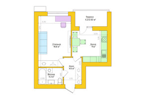 ЖК Vesna: планування 1-кімнатної квартири 38.62 м²