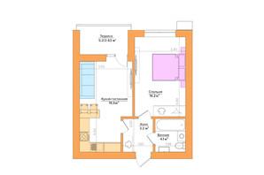ЖК Vesna: планировка 1-комнатной квартиры 43.9 м²