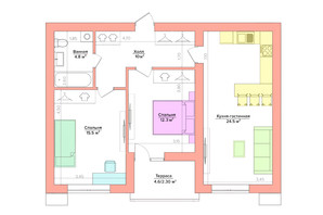 ЖК Vesna: планировка 2-комнатной квартиры 59.58 м²