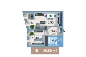 ЖК Вежа на Ломоносова: планировка 1-комнатной квартиры 39.74 м²