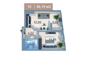 ЖК Вежа на Ломоносова: планировка 1-комнатной квартиры 36.19 м²