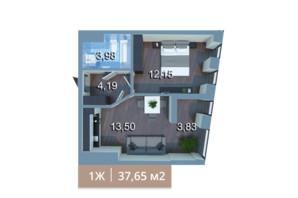 ЖК Вежа на Ломоносова: планировка 1-комнатной квартиры 37.65 м²