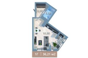 ЖК Вежа на Ломоносова: планировка 1-комнатной квартиры 39.3 м²