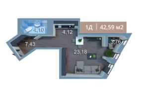 ЖК Вежа на Ломоносова: планировка 1-комнатной квартиры 42.34 м²