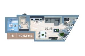 ЖК Вежа на Ломоносова: планировка 1-комнатной квартиры 40.62 м²