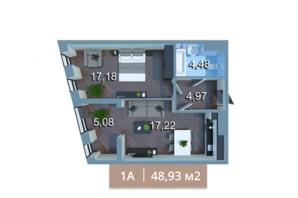 ЖК Вежа на Ломоносова: планировка 1-комнатной квартиры 48.19 м²