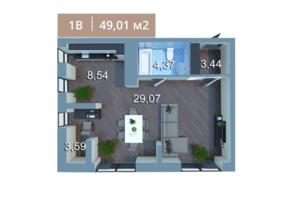 ЖК Вежа на Ломоносова: планировка 1-комнатной квартиры 49.47 м²