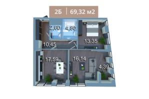 ЖК Вежа на Ломоносова: планировка 2-комнатной квартиры 70.01 м²
