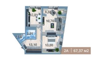 ЖК Вежа на Ломоносова: планировка 2-комнатной квартиры 67.13 м²