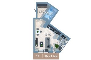ЖК Вежа на Ломоносова: планування 1-кімнатної квартири 39.3 м²