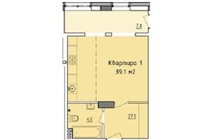 ЖК Victory Hall: планировка 1-комнатной квартиры 39.1 м²