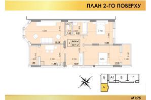 ЖК Віденський Квартал: планування 3-кімнатної квартири 86.04 м²