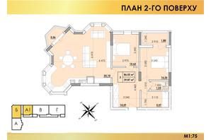 ЖК Віденський Квартал: планування 3-кімнатної квартири 86.03 м²