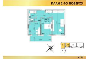 ЖК Віденський Квартал: планування 2-кімнатної квартири 58.38 м²