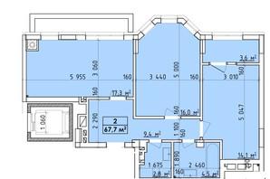 ЖК Віденський Квартал: планування 2-кімнатної квартири 67.7 м²