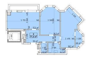 ЖК Віденський Квартал: планування 2-кімнатної квартири 71.6 м²