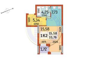 ЖК Відрада: планування 1-кімнатної квартири 33.76 м²