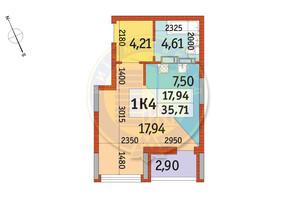ЖК Відрада: планування 1-кімнатної квартири 35.71 м²