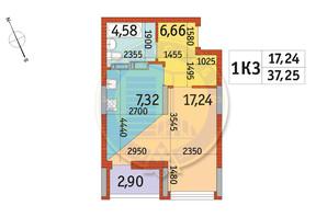 ЖК Відрада: планування 1-кімнатної квартири 37.25 м²
