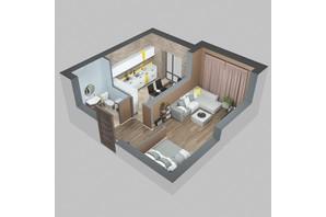 ЖК Viking Home: планировка 1-комнатной квартиры 35.25 м²