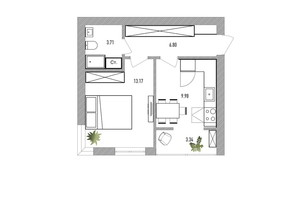 ЖК Вілла Севілья: планування 1-кімнатної квартири 38 м²