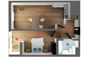 ЖК Вільне Місто: планування 1-кімнатної квартири 44.82 м²