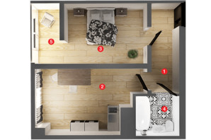 ЖК Вільне Місто: планування 1-кімнатної квартири 47.62 м²