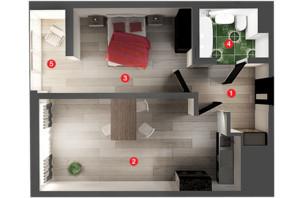 ЖК Вільне Місто: планування 1-кімнатної квартири 44.87 м²