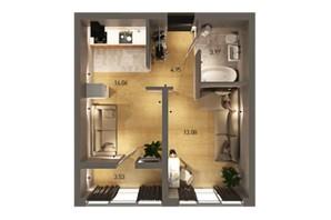 ЖК Вільне Місто: планування 1-кімнатної квартири 42.31 м²