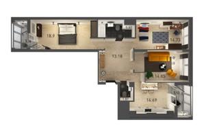 ЖК Вільне Місто: планування 3-кімнатної квартири 90.53 м²