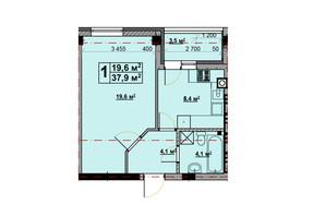 ЖК Vlasna: планировка 1-комнатной квартиры 37.4 м²