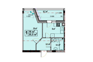ЖК Vlasna: планировка 1-комнатной квартиры 35.5 м²
