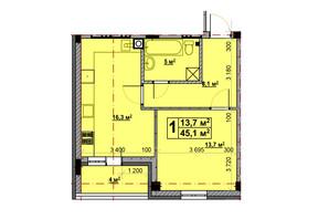 ЖК Vlasna: планування 1-кімнатної квартири 45.1 м²