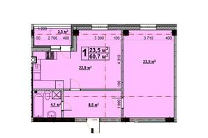 ЖК Vlasna: планування 1-кімнатної квартири 58.2 м²
