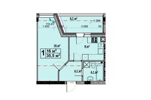 ЖК Vlasna: планування 1-кімнатної квартири 35.5 м²
