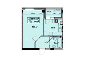 ЖК Vlasna (Власна): планировка 1-комнатной квартиры 37.4 м²